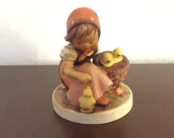 1960s Hummel 57/0, Chick Girl Hummel, Girl with Chicks Hummel, Repaired From Damage