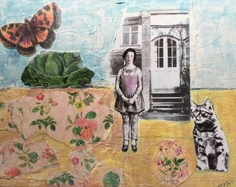 Mixed Media Original Acrylic Painting  Cat Cabbage Butterfly Garden Tattoo Flowers original mixed media painting