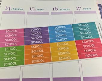 School Header Stickers Planner Stickers, Rainbow Sticker, College, Header, Erin Condren, Plum Paper, MAMBI, planner accessory