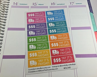 Yay Its PayDay Planner Stickers, Rainbow Sticker, PayDay, Money, Salary, Erin Condren, Plum Paper, MAMBI, planner accessory