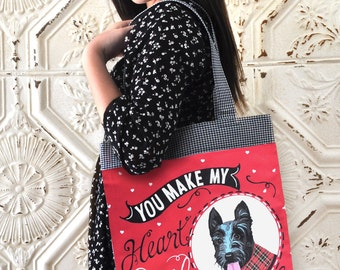 Scottie Art Tote Bag- You Make My Heart Smile