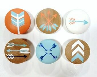 Custom Arrow Drawer Knob, Tribal Drawer Knob, Arrow Decor Drawer Pull, Single Knob