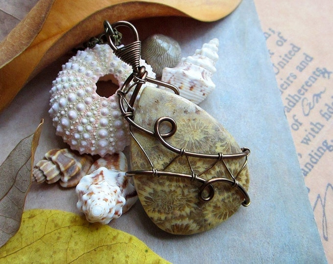 "Wire wrapped fossil coral necklace ""Mermaid Spirit"". Custom chain length."