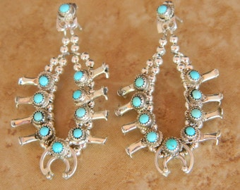 Native American Navajo Turquoise Sterling Squash Blossom Necklace Earrings Signed Larry Curley