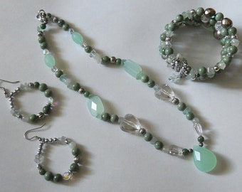 Artisan made Necklace/Pendant, bracelet and earring set, greens and silver