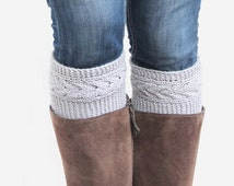 Grey knitted boot cuffs with braids. Wool knee warmers