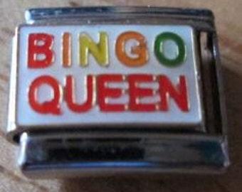 Bingo Queen, 9 mm Italian Charm, stainless steel, soldered,