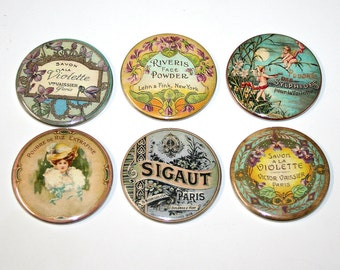 Vintage Beauty Perfume Labels - Set of 6 Large Fridge Magnets