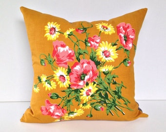 Cushion cover florals on mustard Vintage upcycle handmade