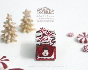 Peek-a-boo Hidden Snowman Red Velvet  Pound Cake in 1/12th miniature dollhouse Christmas Cake