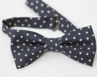 SALE!! Navy Blue with Stars Little Boy BowTie, ages 2-10