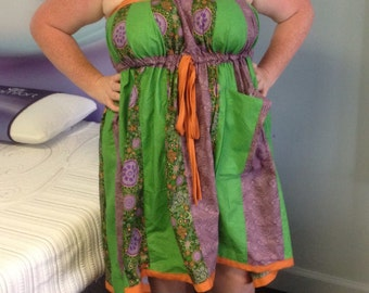 Green/purple/orange drawstring knee length hippie/retro/boho dress