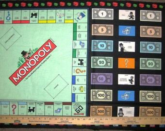 Monopoly Game Night Cotton Fabric Panel by Quilting Treasures! [Choose Your Cut Size]