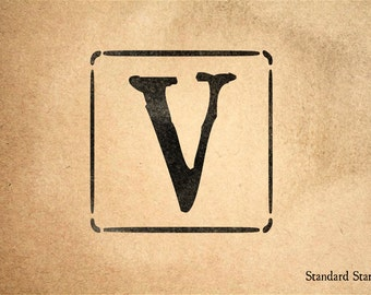 Letter V Block Rubber Stamp - 2 x 2 inches