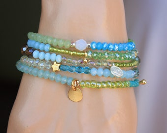 Turquoise,Milky Blue and Lime Green  5x Wrap Bracelet,2x Necklace