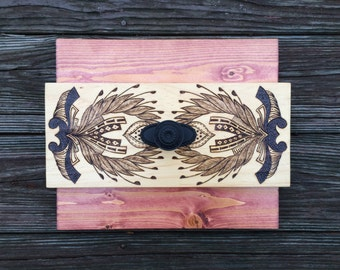 Wood Wall Art Series Rectangular Hardware Knob Pattern Original Custom Handmade
