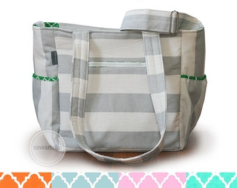 Deluxe grey striped canvas and quatrefoil striped diaper bag / striped knitting bag / striped tote bag