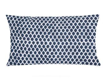 Indigo and White Dots Cotton Lumbar Pillow Cover - Decorative Lumbar Pillow - Indigo and White Block Printed Cotton Cushion Cover