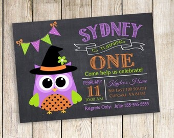 Halloween Birthday Invitation, Halloween Party Invitation, Halloween Invitation, Owl Halloween, Fall Invitation, Digital File 5x7 or 4x6