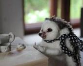 Needle felted hedgehog, felted animal, Miniature soft sculpture, Woodland