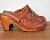 Vintage 1970's Woven Caramel Leather Clogs with Wooden Platforms, Size 8, By QualitCraft
