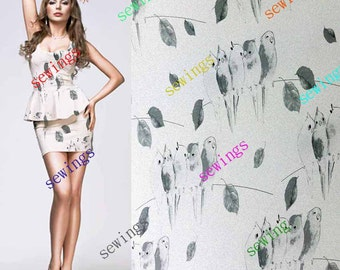 HUGE DISCOUNT cdk-4023 Mono Gray Bird on off White Nice Digitally Print Natural Pure Silk Fabric Crepe by Meters/ Yards Dressmaking Material