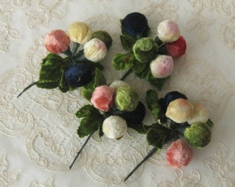 Old Vintage Millinery Velvet Berry Clusters - Made in Japan