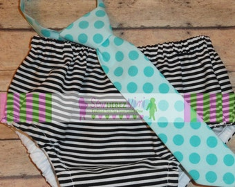Cake Smash Black Striped and Aqua Dot 1st Birthday Diaper Cover Necktie Set