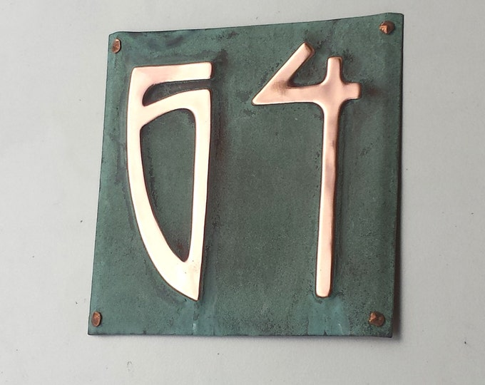 "Art Nouveau Copper address Plaque, 3""/75mm, 4""/100mm high numbers, unique on the web,  coated in marine lacquer g"