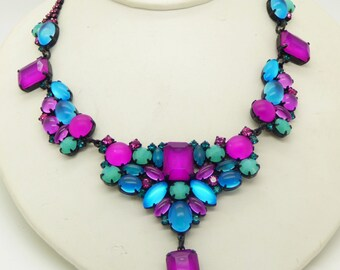 Purple, Pink and Aqua Neon Czech Glass Japanned Necklace and Clip Earrings