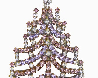 Czech Glass lavender Rhinestone Christmas Tree Brooch, Xmas Pin, Holiday Brooch. Unique vintage