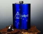 Harry Potter - Engraved - Metallic Blue - Stainless Steel Hip Flask - Always - With FREE Funnel!