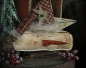 Primitive Snowman Stocking Hat Bedspring Rusty Wire Prim Star Home Decor Ornament