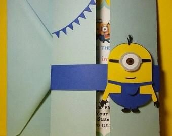 10 Minion Birthday Party Handmade Invites