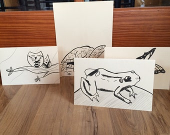Set Of 4 Hand Drawn Greeting Cards