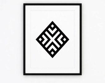 Geometric Print, Black and White Wall Art, Geometric Wall Print, Black Home Decor, Geometric Printable Art