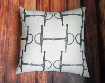 Equestrian Pillow Cover fits 18 x 18 pillow- handprinted english full cheek snaffle bit- Cover Only