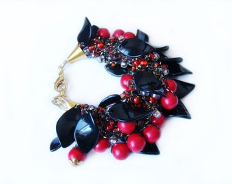 Red Black Airy Bracelet Ethnic bracelet Multistrand bracelet Crochet bead bracelet stretch elastic Ethnic Ukrainian tradition bracelet Lush