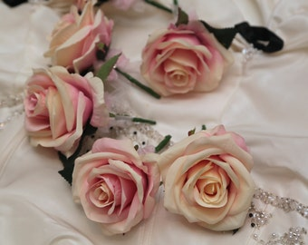 6x Artifical Silk Buttonholes - Wedding Flowers - Buttonholes - Pastel Collection - Buttonholes - Different Quantities Available