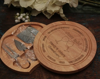 Personalised Cheese Board with Knives - Laser Engraved - Round Wooden Cheese Board - Couples Gift - Wedding Gift -
