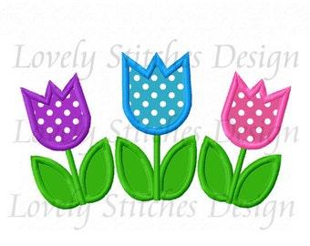 Tulip Flowers Applique Machine Embroidery Design NO:0520