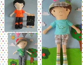 Custom Boy Rag Doll, Custom Doll, Boy Rag Doll, Sebastian Custom Cloth Doll, Personalized Gift, Keepsake Doll, First Doll