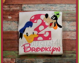 Donald Duck and Goofy Personalized Inital or Birthday Number Shirt