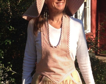 Gardening apron with matching hat