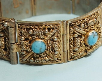 Vintage Gold Wash Filigree Bracelet  -Faux Turquoise Cabochons - Hand Made Wire Work Jewelry