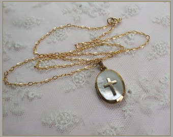 Vintage  Religious Cross Locket - Mother of Pearl Pendant  - 14K Gold Filled Chain Necklace