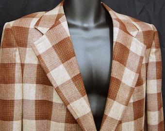 1960s Plaid Wool Jacket 39R Vintage Retro