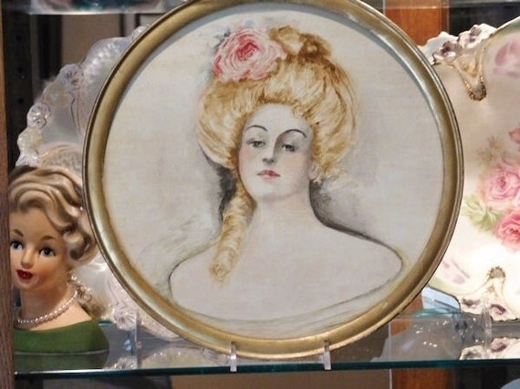 Watercolor Victorian Gibson Girl Harrison Fisher Style Art Nouveau Painting Pastel Mixed Media Gouache Highlights Art Turn of the Century