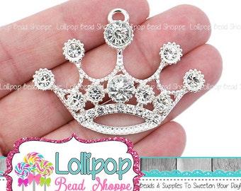 54mm Clear & Silver Crown Rhinestone Pendant Princess Pendant Tiara Chunky Necklace Pendant Bling Bubblegum Beads Bubble Gum Beads RP13