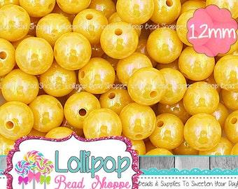 12mm YELLOW AB Solid Acrylic Beads Round Gumball Beads Iridescent Chunky Beads Plastic Bubblegum Beads Aurora Borealis Bubble Gum Beads